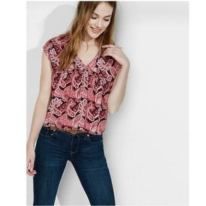 EXPRESS Paisley Printed Open-Back Tassel Blouse B2